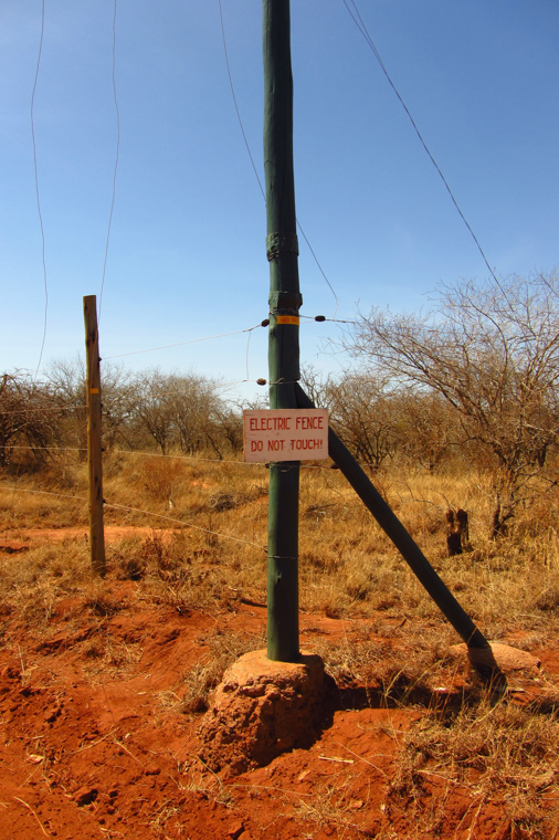 Electric fence to keep elephants off the villages