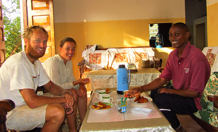 Breakfast with Patrick, a priest in Bungule