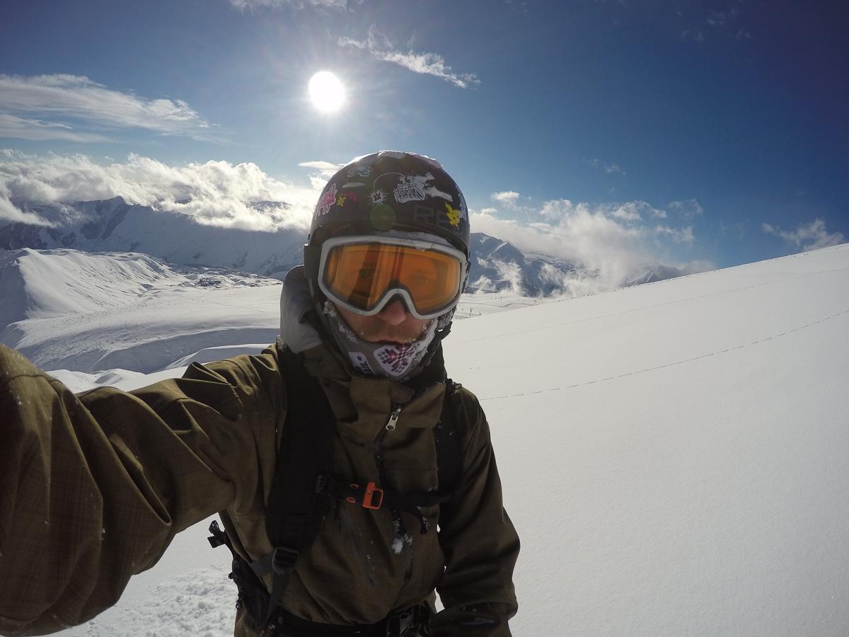 Snowboarding in Gudauri, Georgia