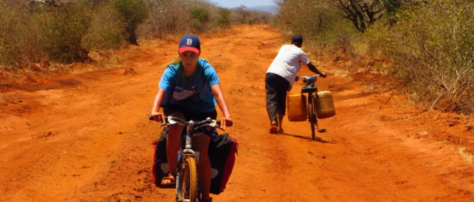 Kenyan bush, bicycles and elephants