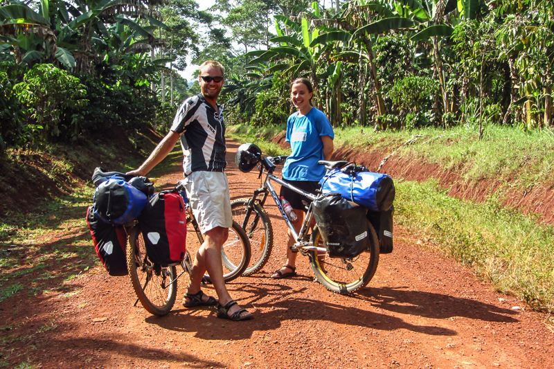 Biking at the source of the Nile in Uganda