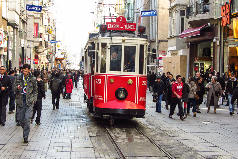 A busy street in centeral Istanbul